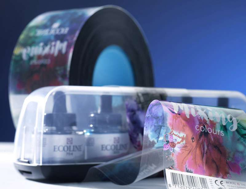 The plastic printed banding label may consist of metalised cold foil or PLA Biodegradable or BOPP or BOPP laminated.